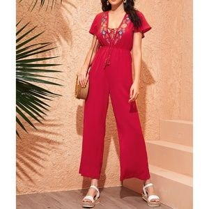 Red Embroidered Lace Up Wide Leg Jumpsuit